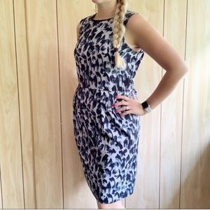Loft Animal Print Dress in Gray/Black